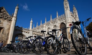 Bicycles outside King's College, Cambridge University
