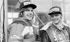 The 1976 battle for the Formula One drivers' title between James Hunt (left) and Niki Lauda (right) is at the heart of Maurice Hamilton's excellent biography of Hunt
