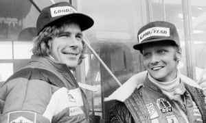 Niki Lauda, right, with his friend and rival James Hunt before the start of the Japan Grand Prix at Fuji in October 1976, less than three months after his accident. His damaged tear ducts made it impossible for him to blink, and he pulled out of the race after two laps.