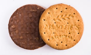 Milk chocolate digestives.