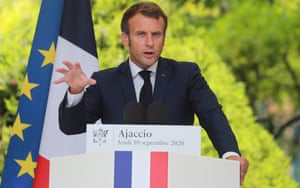 Emmanuel Macron gives a press conference at the Med7 summit in Corsica on Thursday.