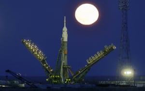 Supermoon rises over Russia's Soyuz-FG booster rocket