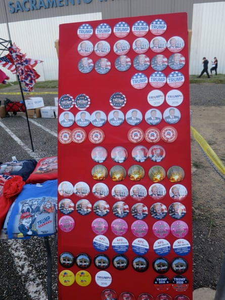 Badges and T-shirts for sale at the rally