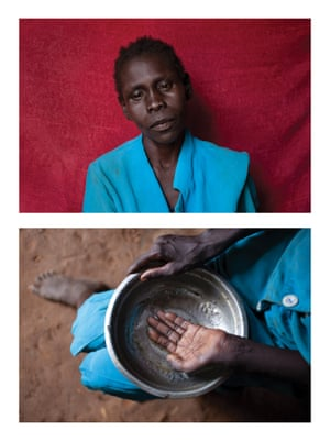 Eunice, in South Sudan, shows an empty bowl