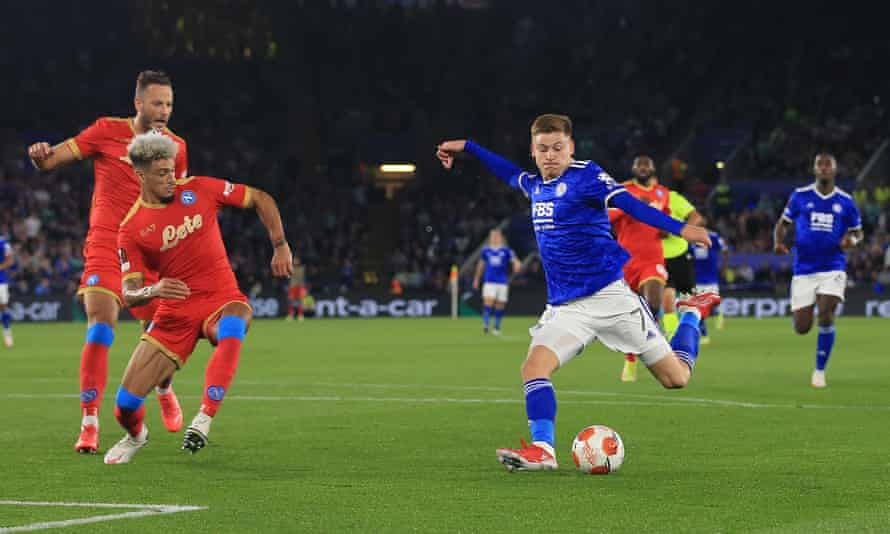 Harvey Barnes gives Leicester a 2-0 lead in the second half.