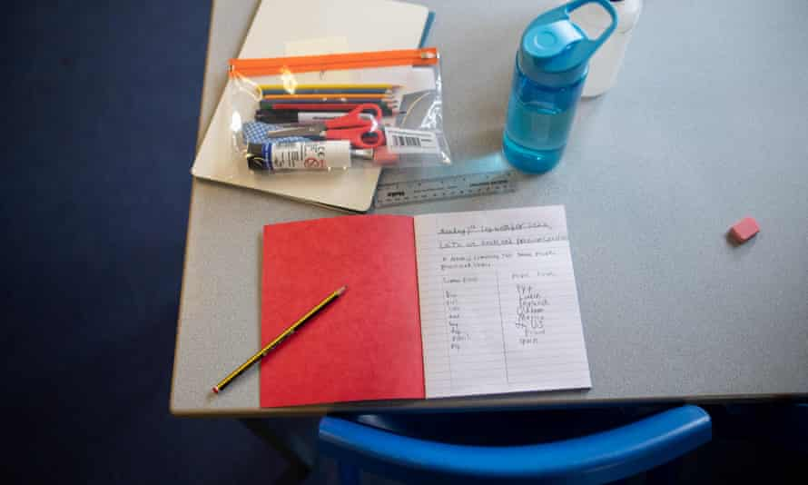 A pupil's personal education materials, for their use only to prevent transmission of coronavirus, is pictured on their desk.