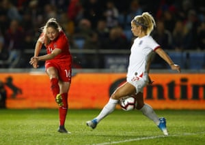Canada's Janine Beckie attempts a shot past Rachel Daly.