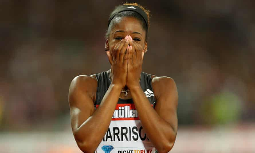 USA's Kendra Harrison after setting a world record in the 100m hurdles