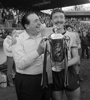 Robert Maxwell, then the chairman of Oxford United, and Malcolm Shotton celebrate the club winning the 1986 Milk Cup