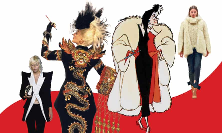 From left: Balmain SS21, Glenn Close in 102 Dalmatians, Cruella de Vil in Disney's 101 Dalmatians, and faux fur in Burberry's AW21 Womenswear collection.