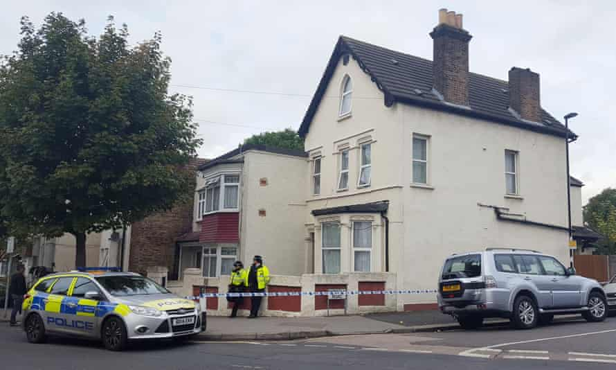 Police outside a house in Thornton Heath, south London