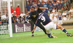 Masashi Nakayama scores Japan's first ever World Cup goal against Jamaica in Lyon at France '98. He is still listed as a J3 League player, aged 51.