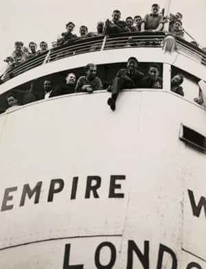 The Empire Windrush arriving in London from Jamaica in 1948.