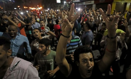 Small groups of protesters in central Cairo