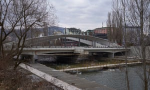 The bridge connecting the Albanian and Serb parts of Mitrovica.