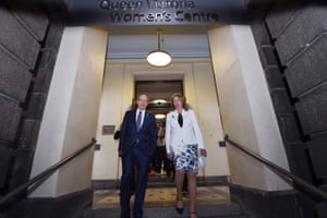 Bill Shorten and Labor health spokeswoman Catherine King after meeting ovarian cancer survivors and their families at the Queen Victoria Women's Centre last month.