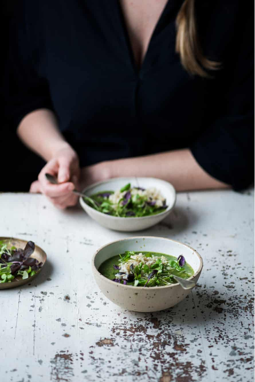 All green miso soup with perfect brown rice