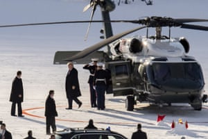 US President Donald J. Trump arriving on Marine One at the heliport in Davos.