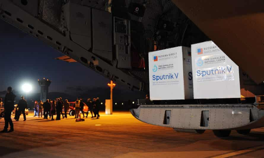Sputnik V doses ready to be unloaded from a Slovakian military aircraft at Košice airport in March