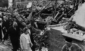 Queen Juliana of the Netherlands visits the village of Tricht, in June 1967, two days after it was hit by a tornado in which five people died.