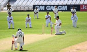 Both sets of players, including Nottinghamshire opening batsmen Chris Nash and Haseeb Hameed take the knee at Trent Bridge.