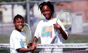 Serena Williams, left, and sister Venus after a 1991 practice game in Compton.