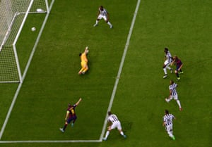 Ivan Rakitic, right, fires the ball past Gianluca Buffon and Barcelona are in the lead. What a start!