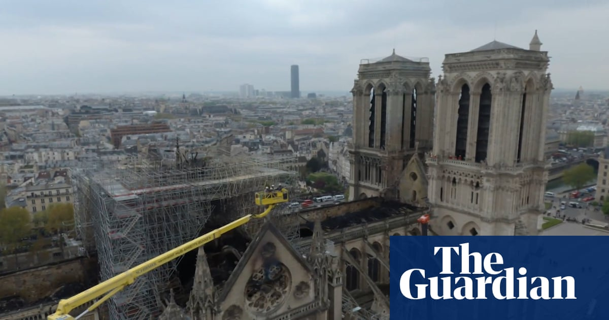Drone footage shows Notre Dame cathedral fire damage – video