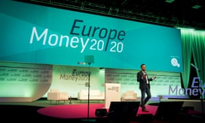 Speaker on stage at the Europe Money 20/20 conference