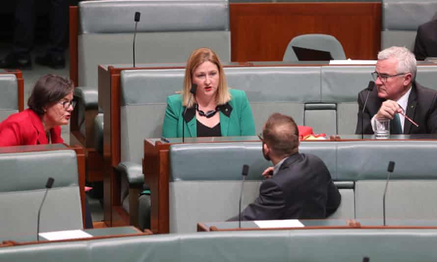 Cathy McGowan, Rebekha Sharkie and Andrew Wilkie and Adam Bandt