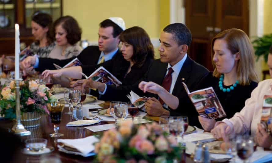 President Barack Obama marks the beginning of Passover with a Seder with friends and staff at the White House in 2010.