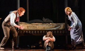 """""""Nicholas Watts (Peter Quint), Tim Gasiorek (Miles) and Sarah Tynan (The Governess) in The Turn Of The Screw , Opera North 2020."""""""