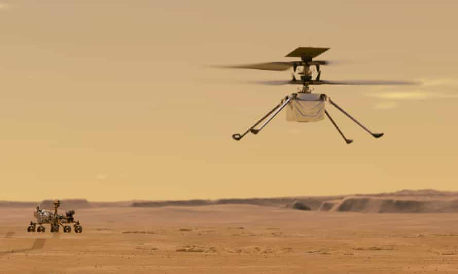 Illustration of what Ingenuity might look like in flight on Mars