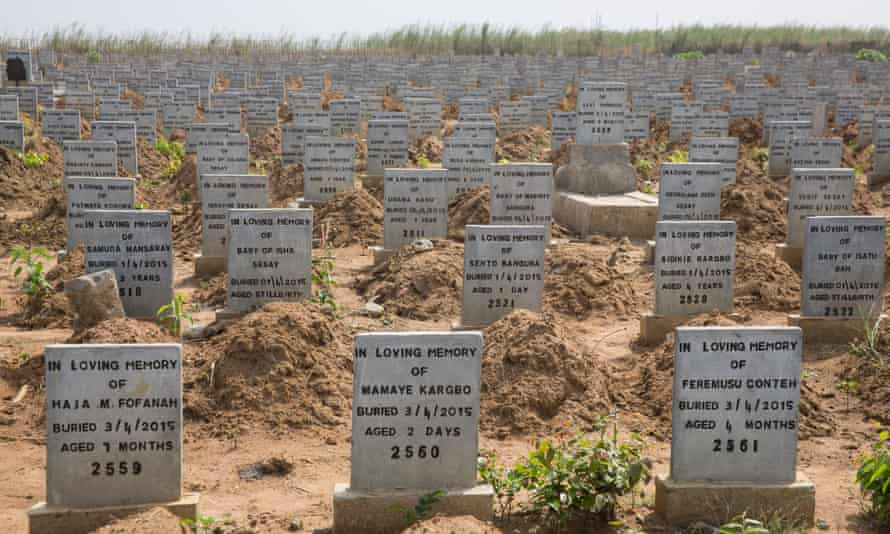 Headstones on the graves of children who died from the Ebola virus at a cemetery for victims in Waterloo, south of the Sierra Leonean capital Freetown.