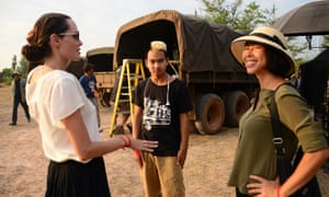 Angelina Jolie, her son Maddox Chivan and Loung Ung on the set of First They Killed My Father.