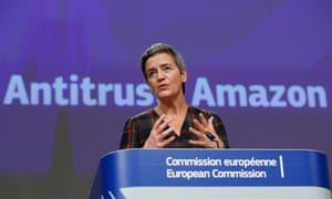 European Executive Vice-President Margrethe Vestager gives a press conference on the Amazon antitrust case.