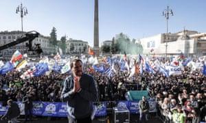 Italian deputy premier Matteo Salvini at a rally in central Rome.