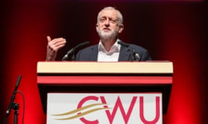Jeremy Corbyn speaking at the CWU conference in Bournemouth.