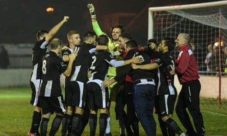 Heybridge Swift players celebrate their win over the Metropolitan Police in the first qualifying round of the FA Cup.