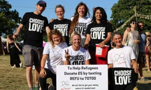The 'Choose Love' T-shirt, designed by Katharine Hamnett, was a great success for the Help Refugees charity.