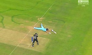 Ben Stokes accidentally clips the ball while diving during the dying stages to claim six vital runs.