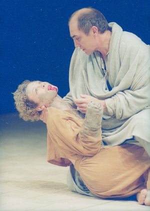 Titus Andronicus, 1987. Directed by Deborah Warner, designed by Isabella Bywater. The photograph shows Lavinia (Sonia Ritter) and Marcus (Donald Sumpter).