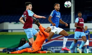 Dominic Calvert-Lewin scores against West Ham in the Carabao Cup last week. He has scored nine goals in six games this season to earn an England call-up.