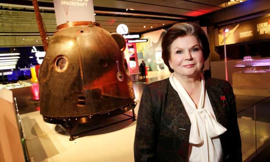 Valentina Tereshkova with Tim Peake's Soyuz TMA-19M spacecraft in the Science Museum