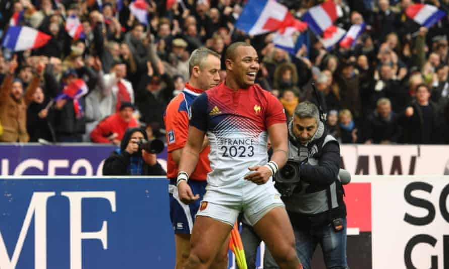 France's Gaël Fickou celebrates scoring his side's only try in the 22-16 Six Nations win against Scotland at the Stade de France.