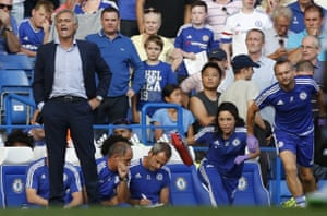 José Mourinho was furious at Chelsea's club doctor Eva Carneiro (second right) running on to treat Eden Hazard late on in a 2-2 draw against Swansea.