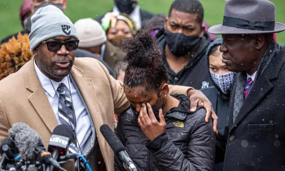 Philonise Floyd, left, brother of George Floyd; Chyna Whitaker, Daunte Wright's girlfriend, center; and the Floyd family lawyer Ben Crump, at a press conference on Tuesday.