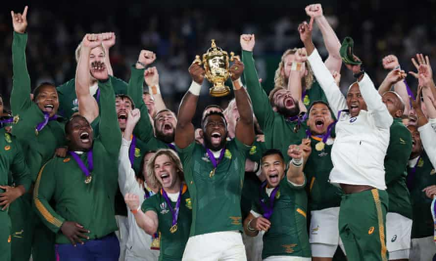 South Africa's captain Siya Kolisi and his Springboks celebrate winning the 2019 World Cup after defeating England in Yokohama.