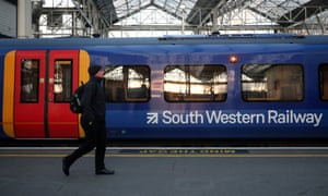 A South Western Railway train at Waterloo station in London