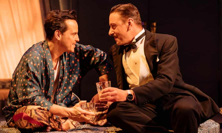 Sexual chameleon ... Andrew Scott as Garry Essendine and Enzo Cilenti as Joe Lyppiatt in Present Laughter.